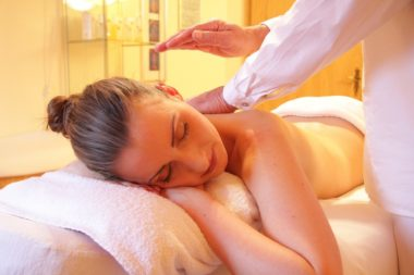 woman getting a spa and massage