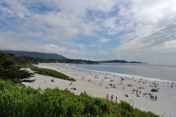 carmel beach filled with tourists